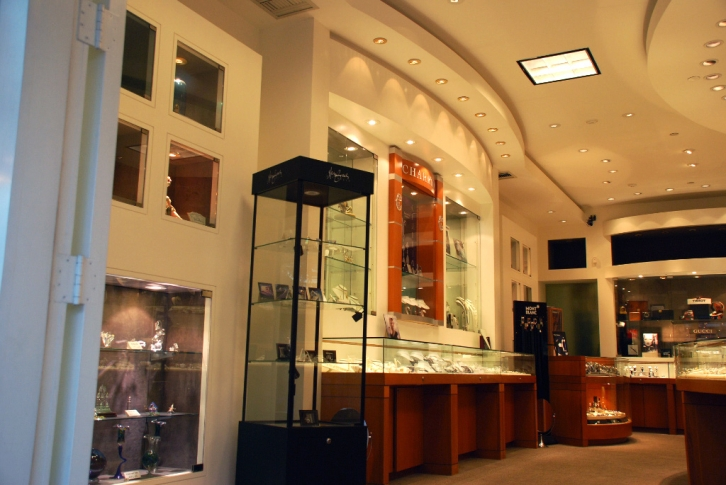 Glass Shelving in Jewelery Store