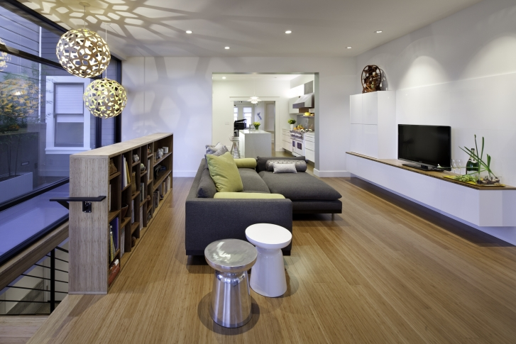 Living room with white custom cabinets