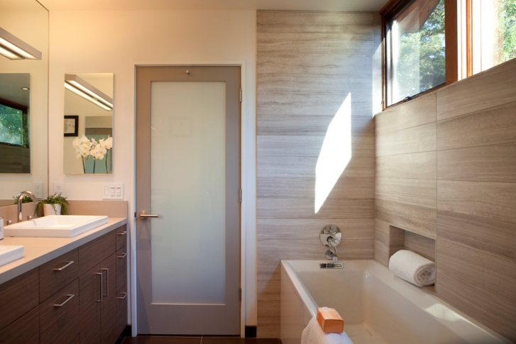 Bathroom with wood on the walls