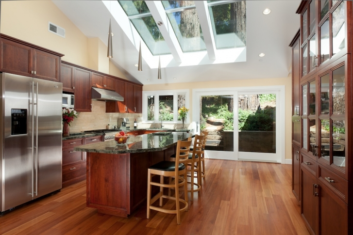 Kitchen with large Sky lights