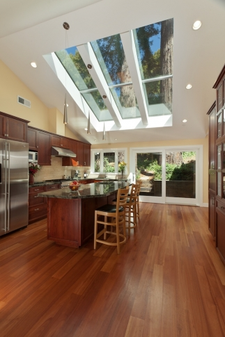 Kitchen with hard wood floors