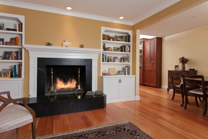 Large fireplace in living room