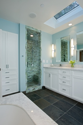 Walk in shower with small tiles