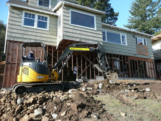 Escavator working at home remodel