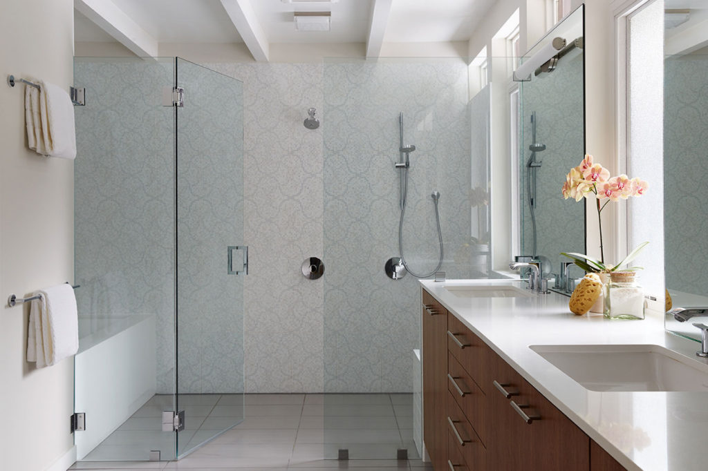 Glass doors on shower