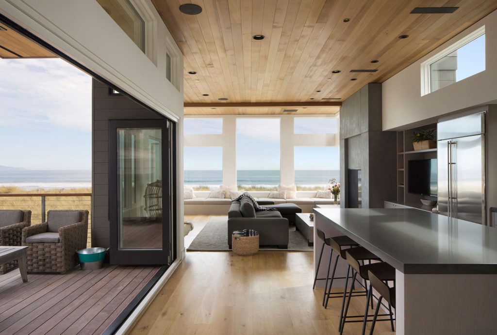Kitchen and Living Room view of ocean